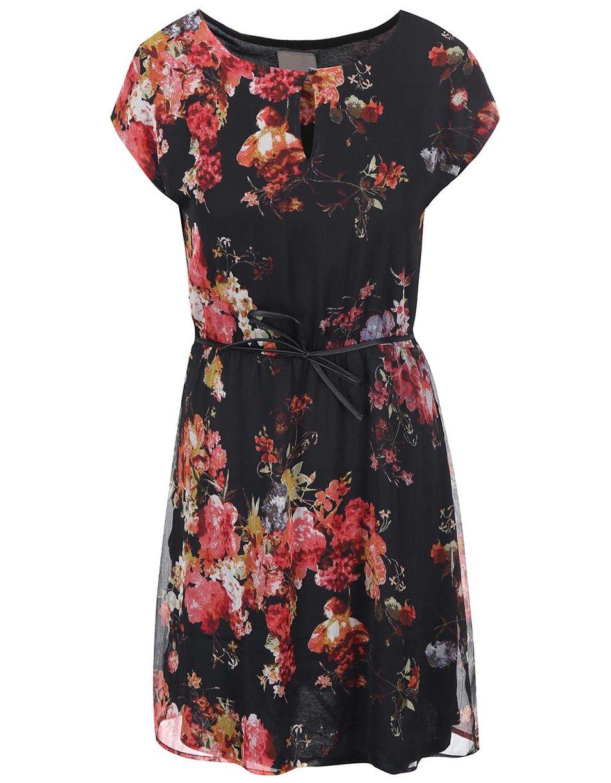 9ae6eaab972f Černé šaty s barevnými květy - Vero Moda