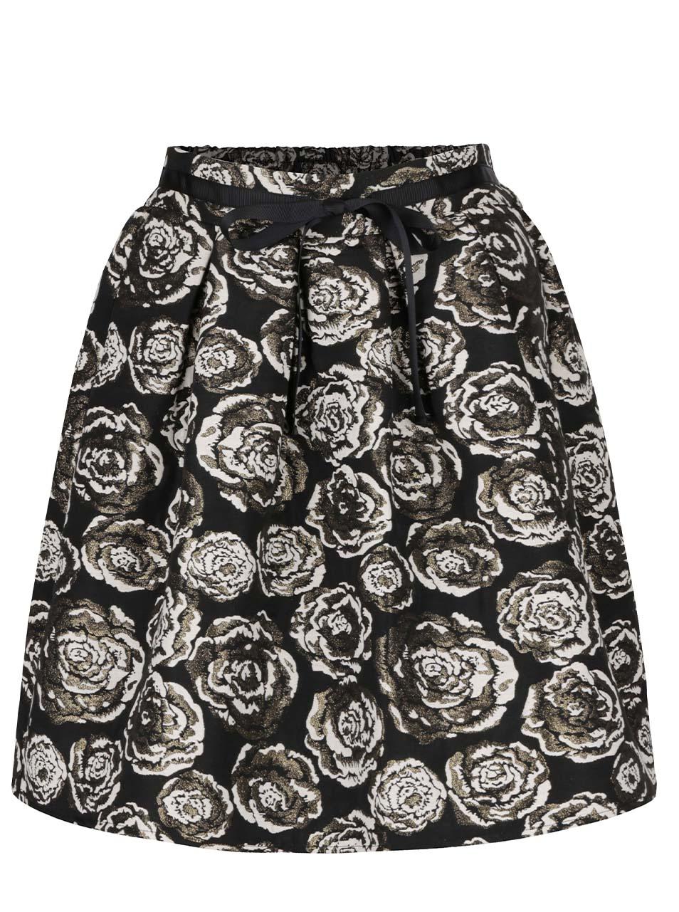5c217413c8a Černá sukně s květy a gumou v pase Vero Moda