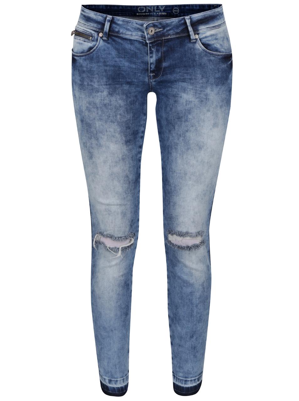 e27e79b1c2f Stylové dámské džíny s dírami na kolenou ve světle modré barvě ONLY