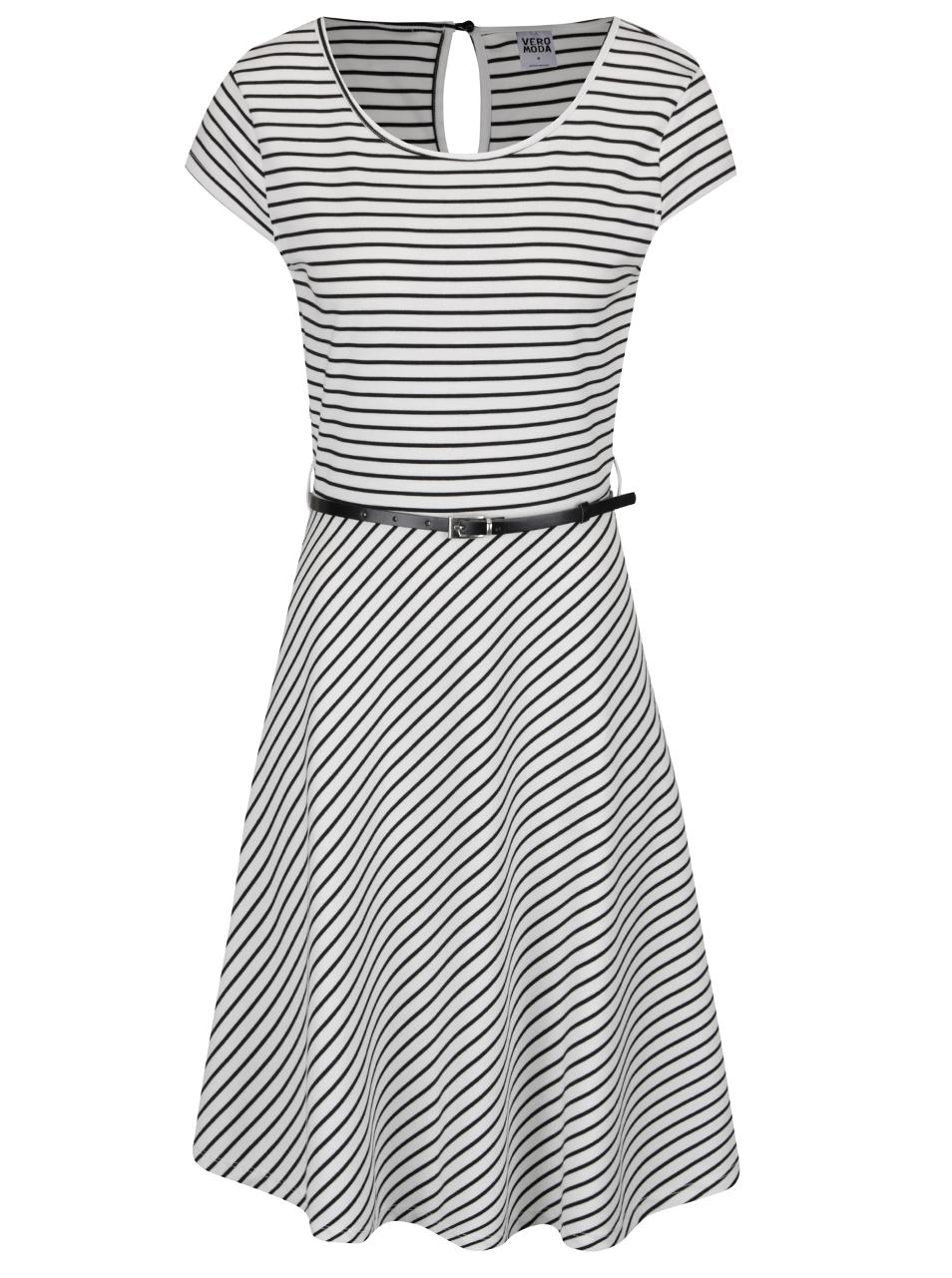 feacce53070e Pohodlné bílé šaty s černými proužky a páskem Vero Moda